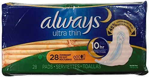 Always Ultra Thin Size 4 Overnight Feminine Pads with Wings, Unscented, 28 Count - Pack of 2 (58 Total Count)
