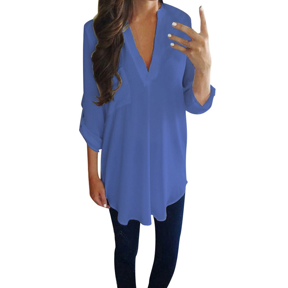 Blouse For Women-Clearance Sale, Farjing Casual Chiffon Long Sleeve V Neck Shirt T-Shirt Blouse(US:4/S,Blue )
