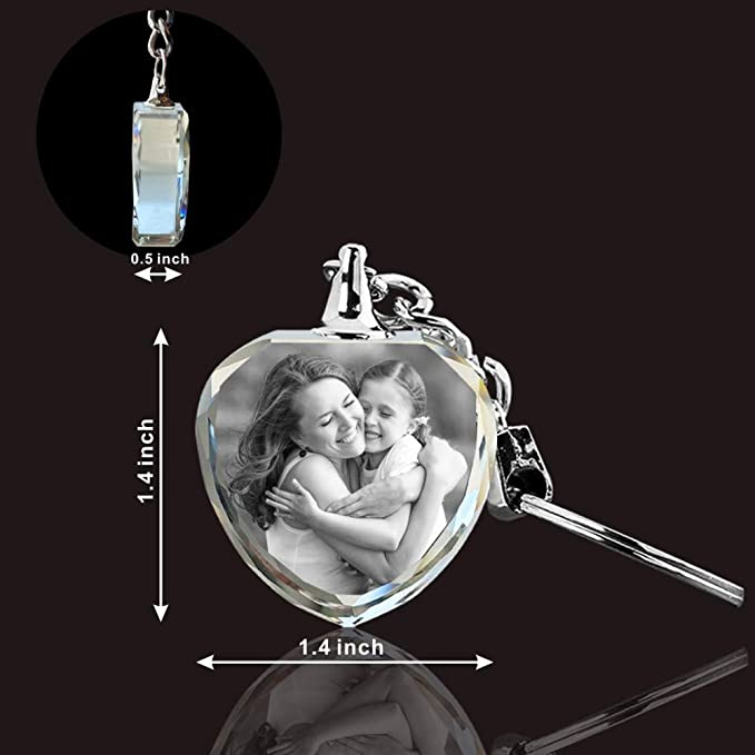 Personalized Gift Birthdays Laser Etched Print For Him Her Mothers Day Custom Engraved Photo Crystal Keychain Rectangle Best Friend