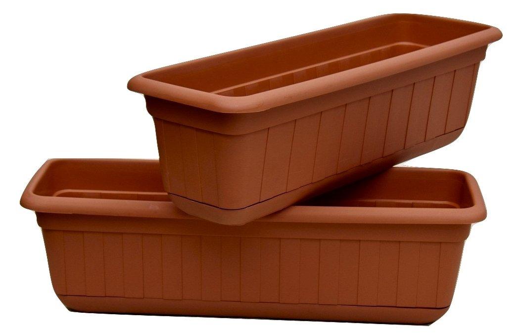 "Premium High-Density Plastic Planter & Flower Window Box Gina 18"" Set of 2 Units (Terracotta color)"