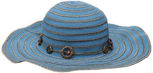 UPC 807928121226, San Diego Hat Company Women's 4-Inch Brim Ribbon Sun Hat with Bead Trim, Mosaic Blue, One Size