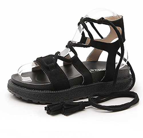 Zarbrina Womens Mid-Heeled Thong Elastic Straps Flat Sandals Summer Strappy Lace up Knotted Platform Shoes Black
