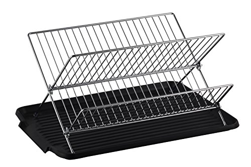 Deluxe Chrome-plated Steel Foldable X Shape 2-tier Shelf Small Dish Drainers with Drainboard (ChromeII)