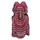 Womens Kaftan Red Pink Elephant Dancing Printed Cover Up Beach Dresses XXL
