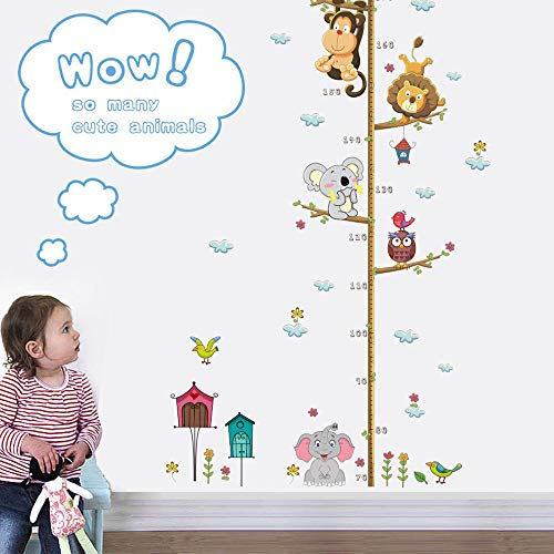 Cute Cartoon Self-Adhesive Children Height Sticker Wall Sticker Home Decoration Wall Stickers,Removable Wall Stickers for Kids Nursery Bedroom Living Room