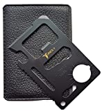 Credit Card Survival Tool - 11 in One Multipurpose Beer Bottle Opener Portable Wallet Size Pocket Multitool (Black) - Useful Christmas gifts Stocking Stuffers for Him