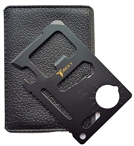 Credit Card Survival Tool - 11 in One Multipurpose Beer Bottle Opener Portable Wallet Size Pocket Multitool (Black) - Useful Christmas gifts Stocking Stuffers for - Credit Card Tools In One All