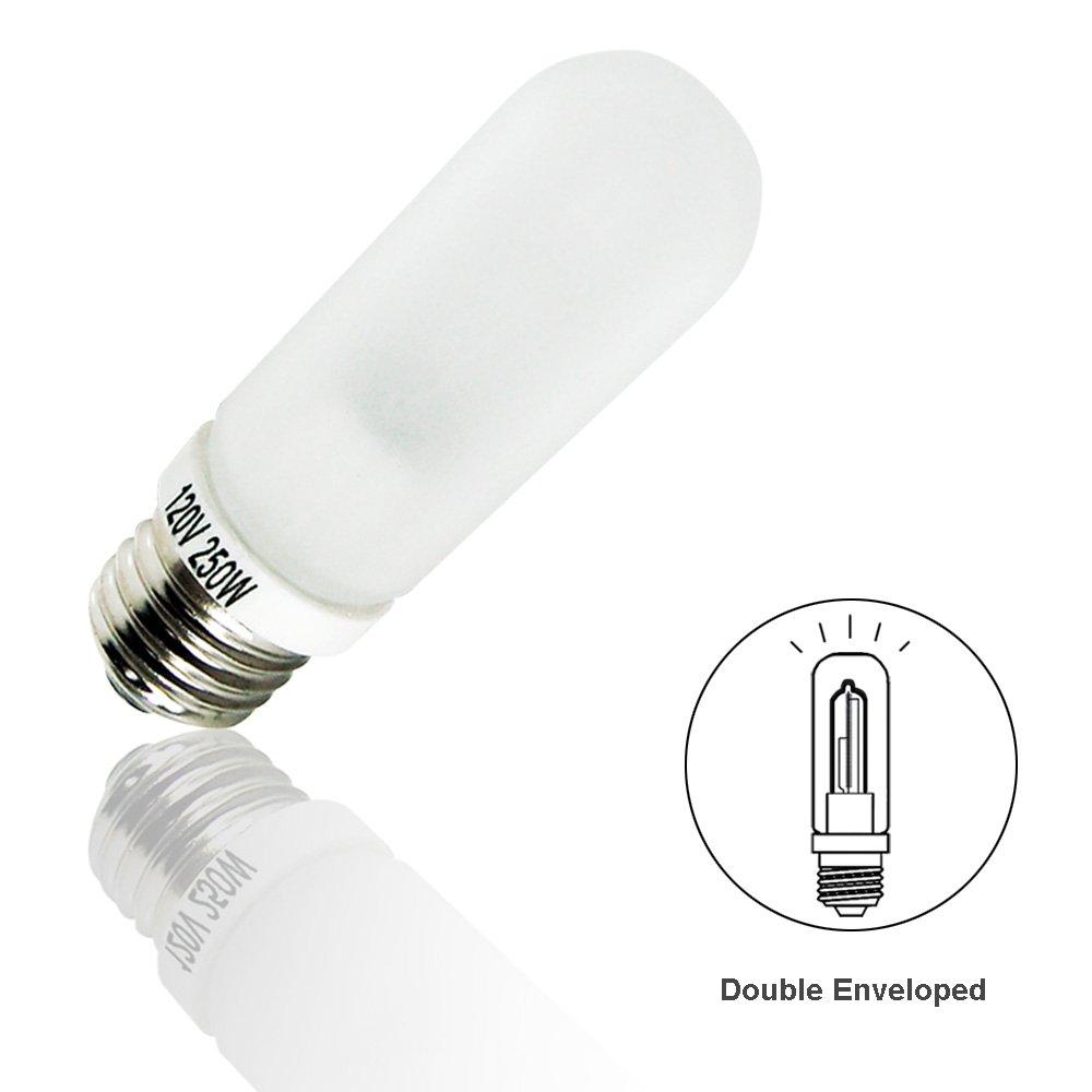 LimoStudio (2 PCS) x JDD 250W Frost Type E26 Base Flash Tube Lamp 120 Volt Light Bulb for Flash Strobe Light, Monolight, Barndoor Light, AGG1796