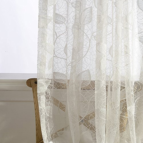 YouYee Polyester Sheer Window Curtain,Leaves Jacquard Voile Window Panel,Window Screening,Wrinkle Free 7296 (2pieces)