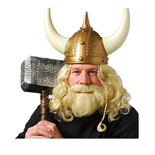 U.S. Toy Viking Horn Helmet Wig & Beard Piece Set Bundle