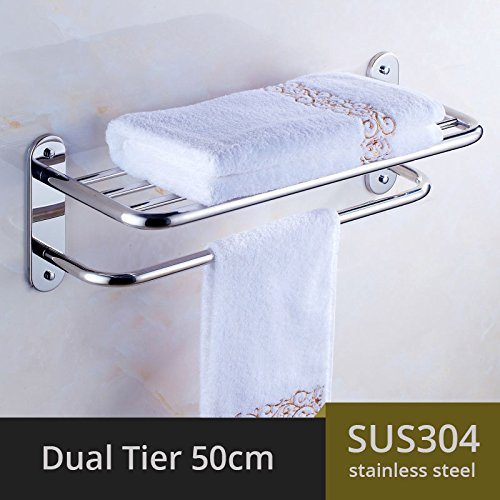 LOVELY 304 Stainless Steel Towel Rack Bathroom Towel Rack Holder Square Towel Shelf Bathroom Shelf Single Dual Triple Racks Dual Tier 50CM