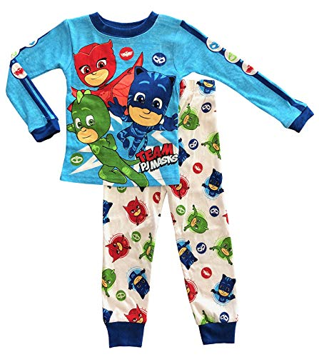 - AME PJ Masks Long Sleeve Toddler Boy Cotton Tight Fit Pajamas,Blue,5T