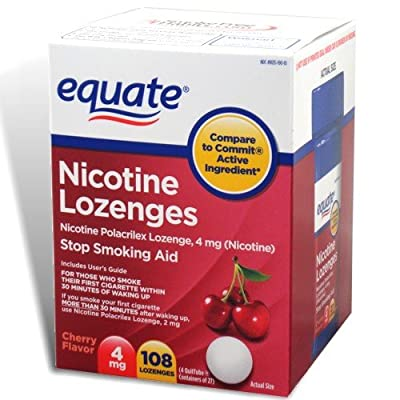Equate - Nicotine Lozenge 4 mg, Stop Smoking Aid, Cherry Flavor, Lozenges, 108-Count