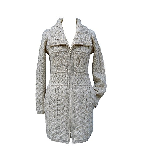 Sothingoodly Fashion;cool Wool Double Collar Aran Knit Coat by West End Knitwear ParsnipX-Small by Sothingoodly Jumpsuits-apparel