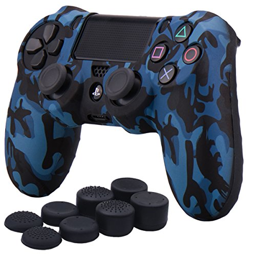 Camouflage Silicone Case (YoRHa Water Transfer Printing Camouflage Silicone Cover Skin Case for Sony PS4/slim/Pro controller x 1(black) With Pro thumb grips x 8)