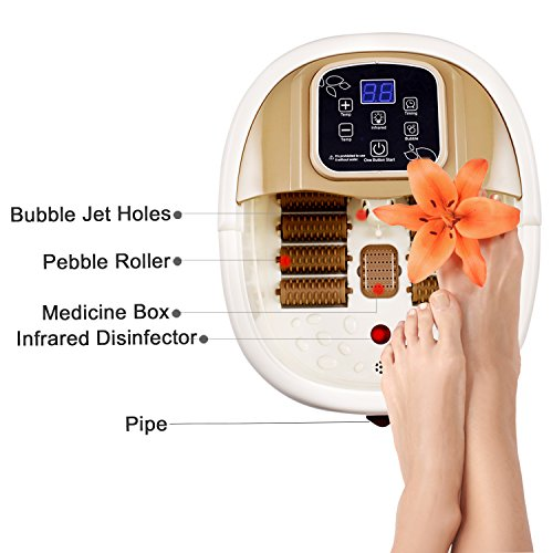 [ Best Gift !] All in One Foot Spa Massager, 8 Tai Chi Pebble Roller Massaging Acupuncture Point with Infrared Light Therapy, O2 Bubbles, Adjustable Time and Temperature by Guisee (Image #1)