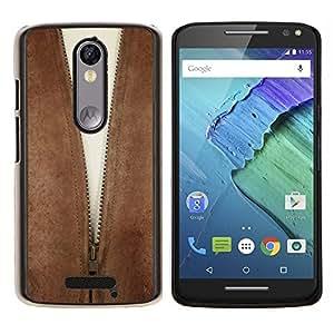 EJOOY---Cubierta de la caja de protección para la piel dura ** Motorola Moto X3 3rd Generation ** --La escisión de la cremallera