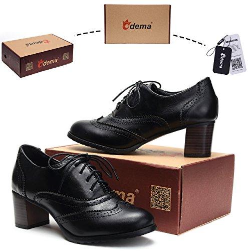 Odema Womens pu Leather Brogue Oxfords Wingtip Lace Up Dress Shoes High Heels Pumps Black
