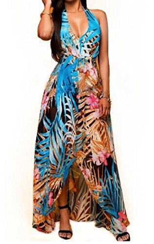 Out Maxi Halter Rompers Dress Beach Women Picture Coolred Neck Back Printing As Cut V Z0Azw