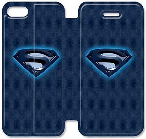 Flip étui en cuir PU Stand pour Coque iPhone 5 5S, 5 cas de téléphone cellulaire 5S Bricolage Superman Bleu Logo Coque iPhone Ilikewallpaper Com T9N4QM Coque iPhone couverture en cuir en ligne