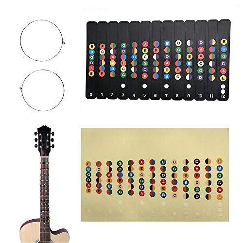Rhinos Guitar Note Sticker and Acoustic Guitar Single String 1st/E -.011'',2nd/B -.015'' for Beginner Lesson Training, Color Map Decal Learning of Guitar (2 Pack)