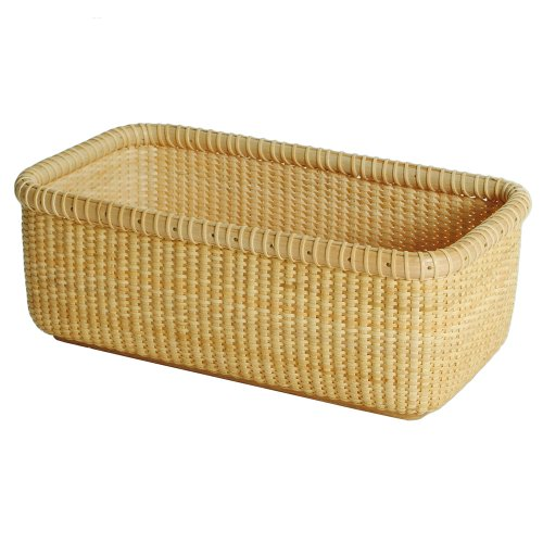Teng Tian Basket Storage Basket Square Box Desktop Organizer America White Wood Imported Indonesian Rattan Casual Style, (Baskets Indonesian Rattan)