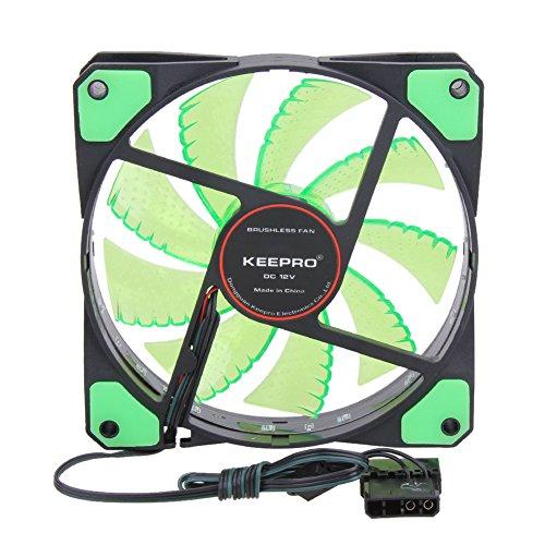 15 LED 12V Light Neon Quite Computer Case Cooling Fan Mod (Green) - 1