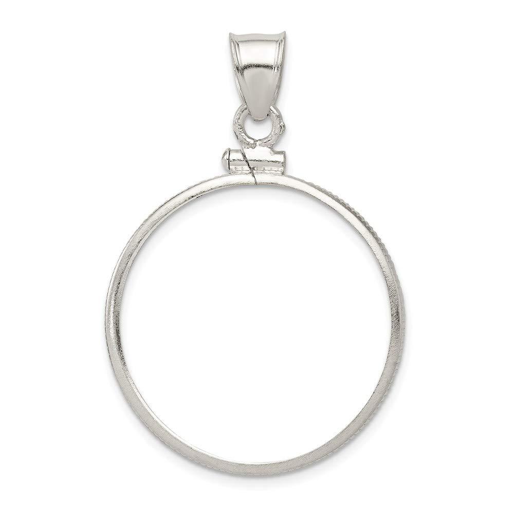 Jewel Tie 925 Sterling Silver 26.4 x 1.8mm Susan B Anthony Plain Coin Bezel Pendant