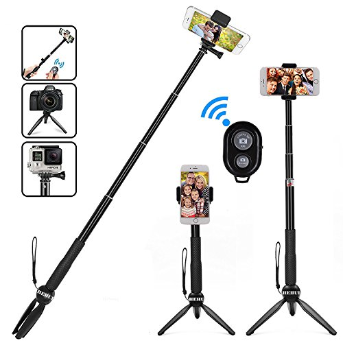 HEHUI Bluetooth Selfie Stick, Extendable Selfie Stick with Wireless Remote and Tripod Stand Selfie Stick for iPhone 8/8 Plus/iPhone X/iPhone 7/7 Plus/Galaxy S9/S9 Plus/Note 8/S8 /S8 Plus/More by HEHUI