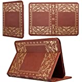 KHOMO Brown Book Style Leather Case for Amazon Kindle Fire HD 8.9 inches