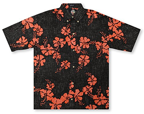 Reyn Spooner Men's Spooner Kloth Classic Fit Button Front Hawaiian Shirt Heritage, Black 50th State Flower, (Heritage Show Shirt)