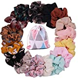 Scrunchies for Hair 16 Pcs Colors Women's Chiffon Flower Hair Scrunchies Hair Bow Chiffon Ponytail Holder, Including Chiffon Flower Hair Scrunchies and Solid Colors Chiffon Hair Ties