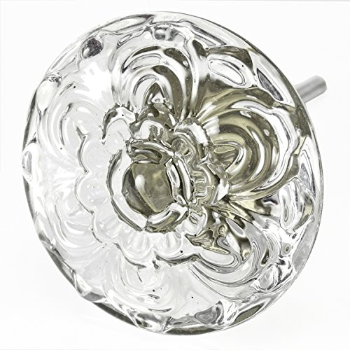 [Kitchen Drawer Pulls, Dresser Knobs Vintage and Glass Pull Handle 4-Pack T103F Large 45mm Clear Embossed Daisy Glass Knobs with Antique Brass Hardware. Made by Romantic Decor & More] (Shaker Drawer Pulls)