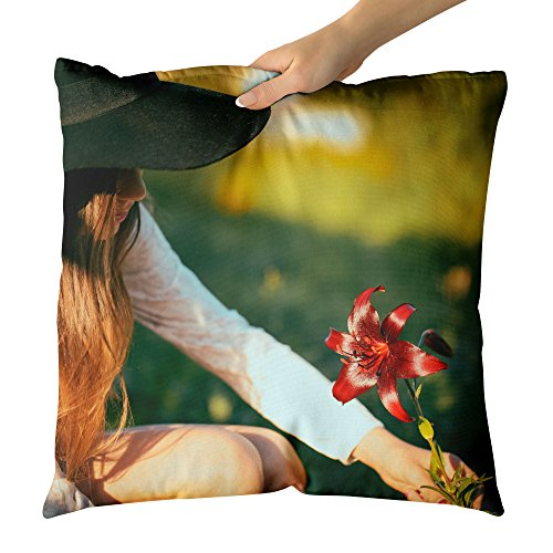 Price comparison product image Westlake Art Decorative Throw Pillow - Hat Girl - Photography Home Decor Living Room - 18x18in (a14z)
