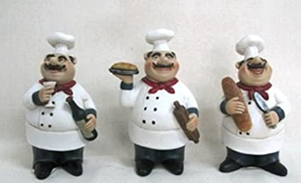 Superieur Set Of 3 Fat Chef Statues Kitchen Decoration Italian Bistro Cooking D64199