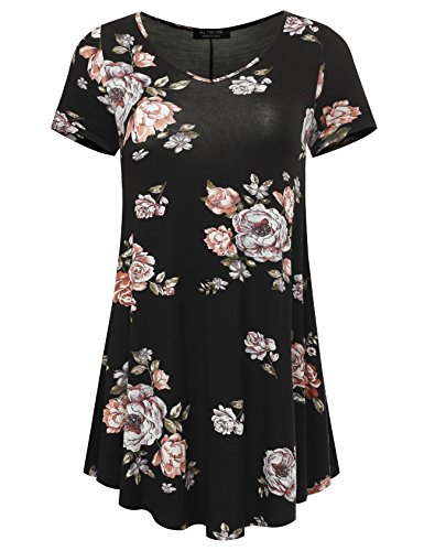 All for You Women's Short Sleeve V-Neck Flare Hem Floral Print Tunic Black 2033 Large