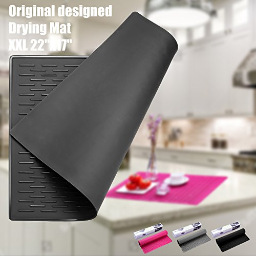 BasicForm XXL Silicone Drying Mat For Kitchen Countertop 22''x17'' (Black) by BasicForm
