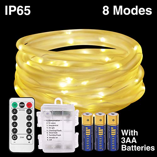 120LED 41ft Rope String Lights Battery Operated String Lights 8 Modes Waterproof Firefly lights with Remote Timer for Outdoor, Indoor, Garden, Party, Christmas Tree, Wedding (120LED, Warm White)