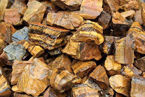 (Rainbowrecords239 - Natural Rough Gold Tiger Eye - 1/2 Lb Bulk Lots of Raw Stones, Rocks, Minerals for Tumbling, Cabbing, 8 Ounces)