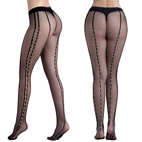 Womens Black Fishnet Lace High Waist Tights Suspender Pantyhose Stretchy Thigh-High Stockings (w58-black)