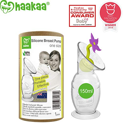 Haakaa Silicone Breastpump Manual Breast Pump Milk Saver Milk Pump with Suction Base and Flower Stopper 100% Food Grade Silicone BPA Free (5oz/150ml) (Purple)