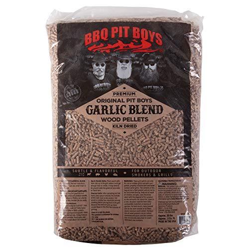 BBQ Pit Boys Wood Pellets (Garlic Blend) - All Natural Premium Grilling Barbecue Wood Pellets - No Fillers - 20 lb Bag