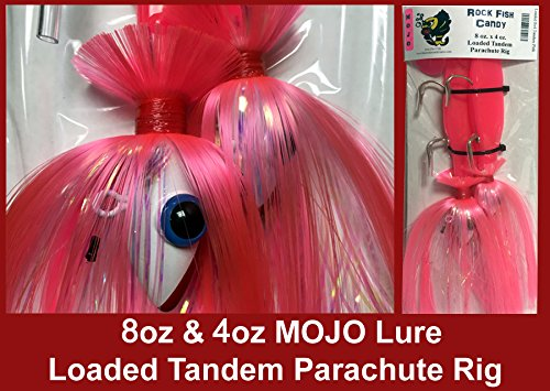 Blue Water Candy - Rock Fish Candy 8 oz & 4 oz Mojo Lure Loaded with 9-Inch Swimbait Shad Bodies Tandem Parachute Rigged & Ready (Special Edition ()