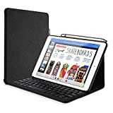 ProCase iPad 9.7 Keyboard Case with Built-in Apple Pencil Holder, Slim Lightweight Folio Stand Protective Smart Book Cover with Wireless Keyboard for Apple iPad 9.7 Inch 2018/2017 –Black