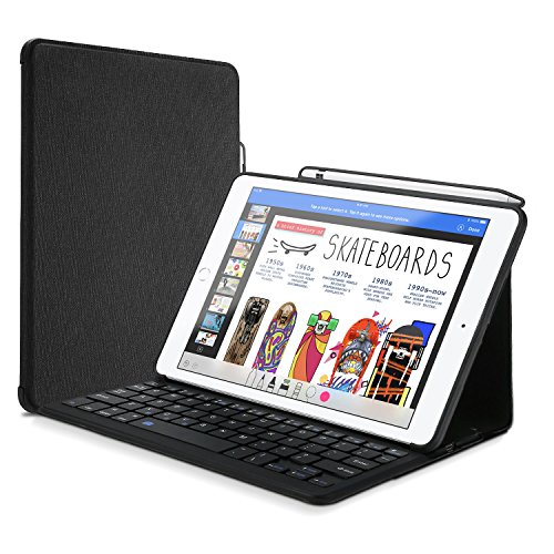 ProCase Keyboard Case for iPad 9.7 with Built-in Apple Pencil Holder, Slim Lightweight Type Cover Folio Stand Protective Smart Cover with Wireless Keyboard for Apple iPad 9.7 Inch 2018/2017 –Black by ProCase