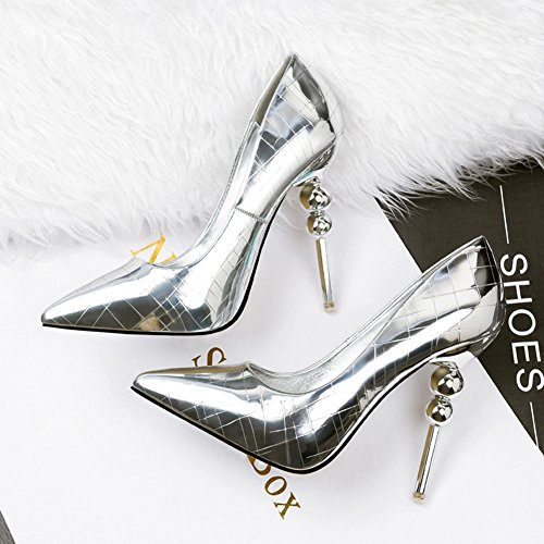 Toe Stiletto Shoes Silver High Low Pointy Court Aisun Slip Heels Cut Sexy Women's On wqOz8z7xt