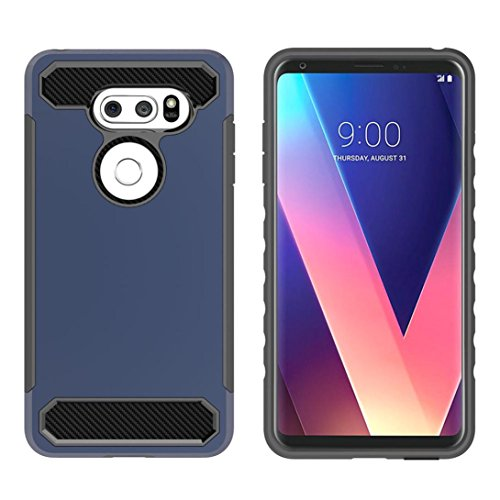 Price comparison product image Mchoice Bling Hard Soft Rubber Impact Armor Case Back Hybrid Cover for LG V30 (Dark Blue)