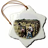 3dRose Scenes from the Past Magic Lantern Slides - Native American Indian Family in the American West Baby with Flag - 3 inch Snowflake Porcelain Ornament (orn_246872_1)