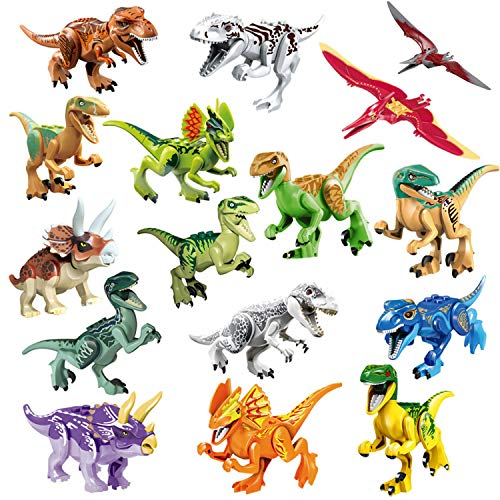 Toys & Hobbies Animals & Dinosaurs Dinosaur Building Blocks 12pcs Movable Head Mouth And Hands Dinosaur Play Figure