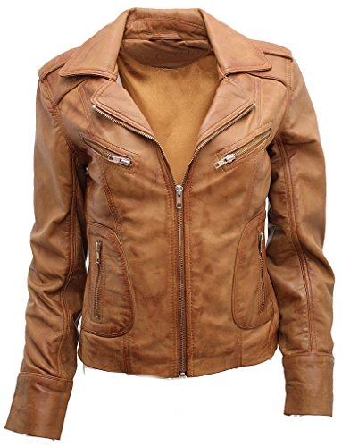 Ladies Casual Tan Lamb Nappa Leather Biker Jacket 8 (Cropped Jacket Brown)